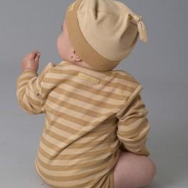 Boy's Organic Long Sleeve Baby Bodysuit Stripes - Wide Stripe Chestnut/Wheat
