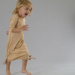 Organic Long Sleeve Baby Gown Rib 1x1 - Wheat