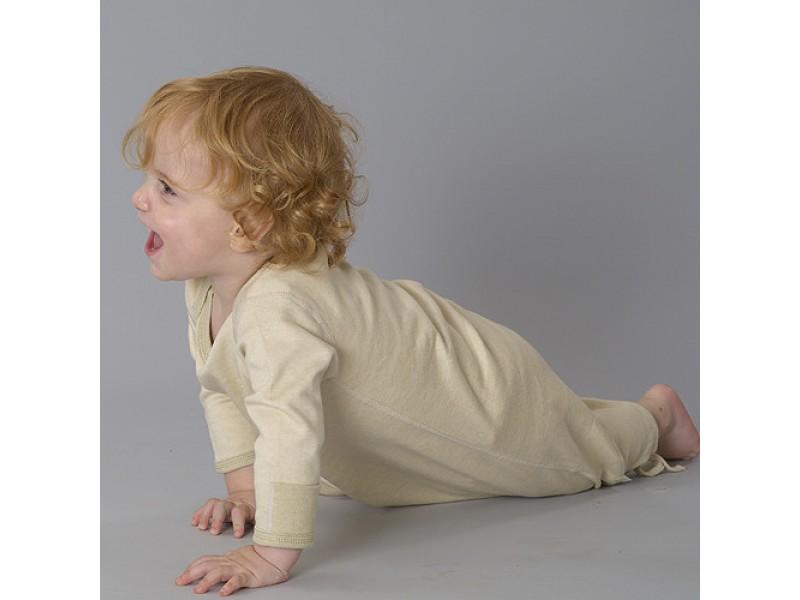 Boy's Organic Long Sleeve Baby Gown - Green Tea