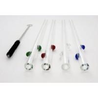 Set of 4 Decorative Dots Drinking Straws w/Brush