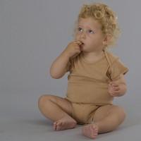 Organic Short Sleeve Bodysuit - Wheat
